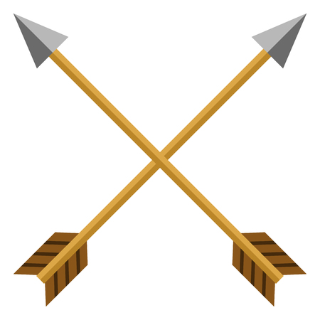 Vector color flat medieval icon of crossed arrows. Illustration
