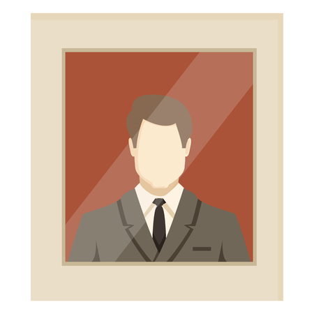 Vector flat color businessman avatar illustration in beige frame. Default userpic. Illustration
