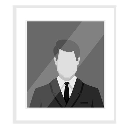 Vector flat gray-scale businessman avatar illustration. Default userpic. Иллюстрация