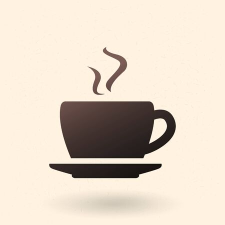 Vector single black silhouette icon of coffee cup with saucer. Иллюстрация