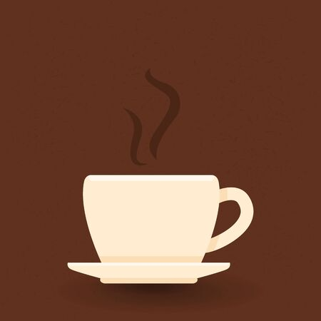 Vector single color icon of coffee cup on brown backdrop.
