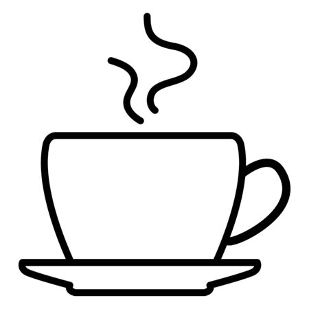 Vector single black silhouette icon of coffee cup with saucer. Illustration