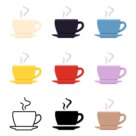 Vector set of coffee cup icons. Different graphic styles pictogram. Иллюстрация