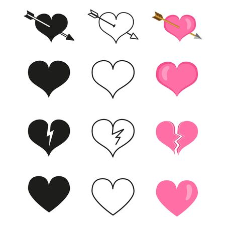 Vector Set of Love Icons. Different Styles Heart Shapes