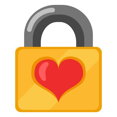 Vector color icon of golden padlock with red heart. Flat wedlock sign.