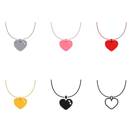 Vector set of color, silhouette and line love necklace icons illustration.