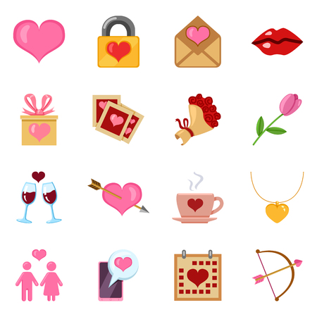 Vector Set of Color Love and Wedding Icons for Valentine Day