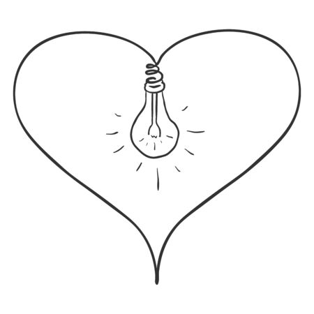 Vector Sketch Doodle Illustration - Heart Shape with Lightbulb in the Middle. Light of Love.