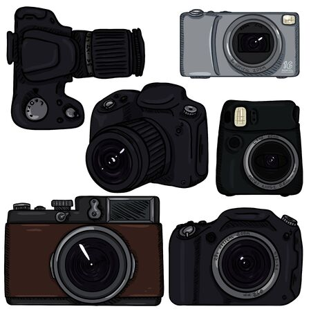 Vector Set of Cartoon Color Photo Cameras. Different Types. Ilustração