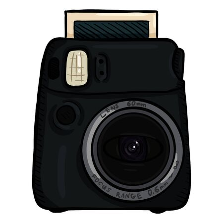Vector Cartoon Black Instant Photo Camera. Front View.