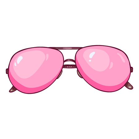 Vector Cartoon Pink Aviator Sunglasses in Metal Rim