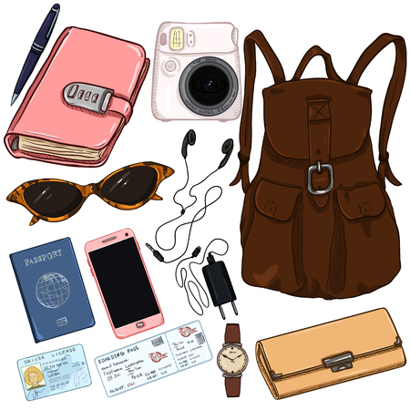 Vector cartoon color travel set. Personal belongings for journey illustration.