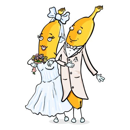 Vector Cartoon Character - Yellow Banana Just Married Couple. Wedding Ceremony. Groom and Bride. Illustration