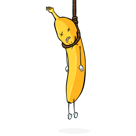 ベクトル漫画のキャラクター - ロープにぶら下がって黄色いバナナ自殺。