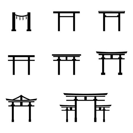 Vector Set of Black Silhouette Torii Gate Icons. Symbol of Shintoism