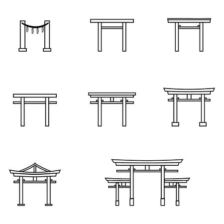 Vector Set of Black Outline Torii Gate Icons. Symbol of Shintoism