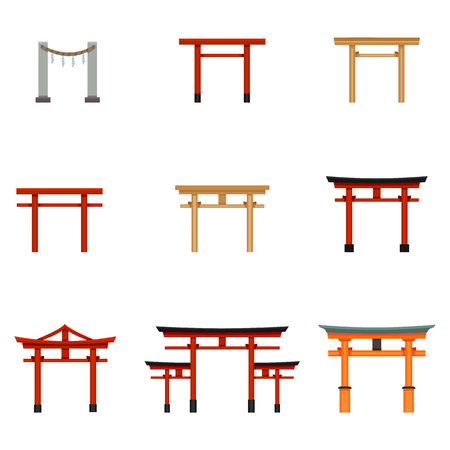 Set of Flat Color Torii Gate Icons