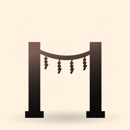 Vector Black Silhouette Shinto Torii Gate Icon with Shimenawa and Shides