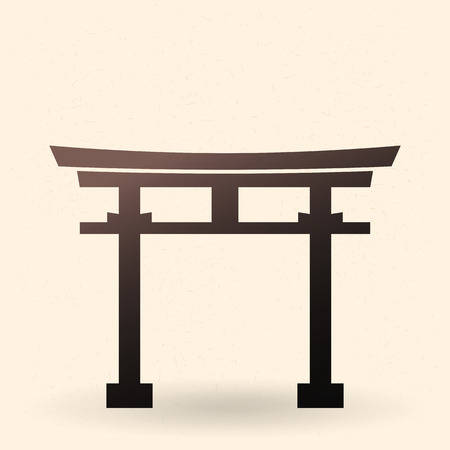 Vector Single Black Silhouette Shinto Torii Gate Icon