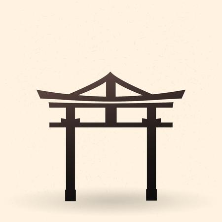 Vector Single Black Silhouette Shinto Torii Gate Icon