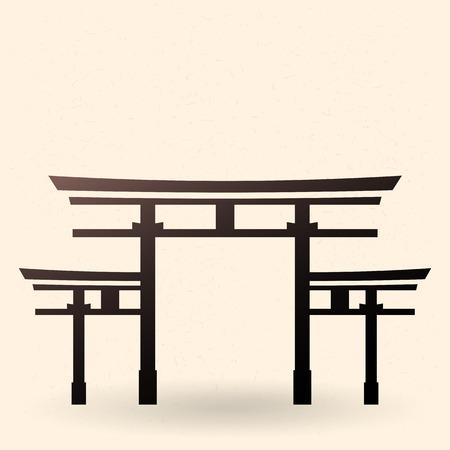 Vector Single Black Silhouette Shinto Torii Gate Icon Stock Vector - 94383297