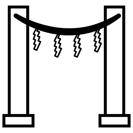 Vector Black Outline Shinto Icon - Japanese Torii Gate with Shimenawa and Shides