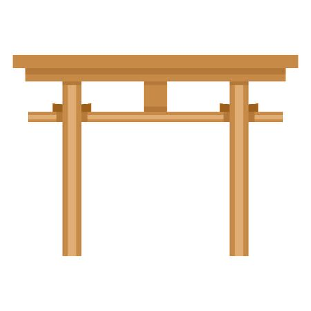 Vector Color Flat Icon - Japanese Wooden Shinto Torii Gate Stock Vector - 94392870