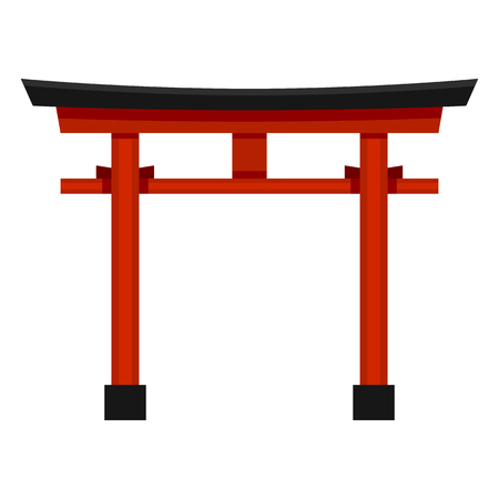 Vector Flat Color Shinto Icon - Japanese Red Torii Gate 向量圖像