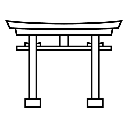 Vector black outline Shinto icon - Japanese torii gate.