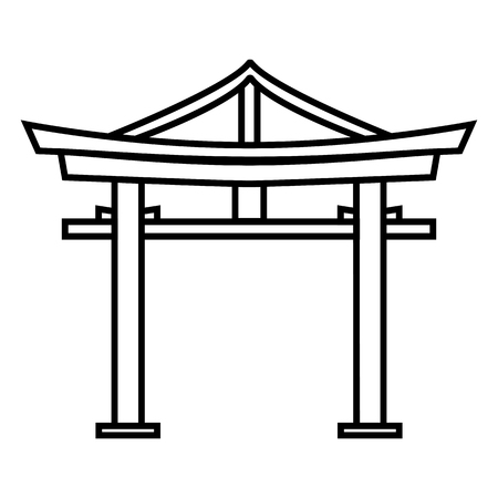 Vector black outline Shinto icon - Japanese torii gate.