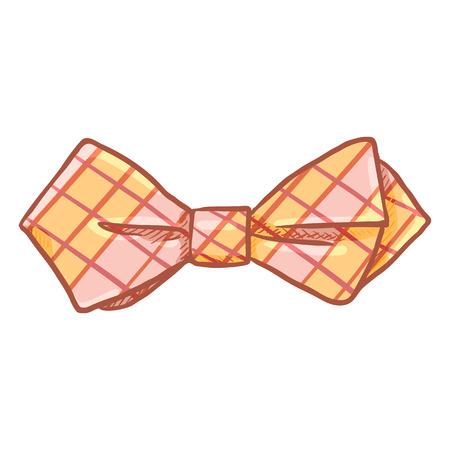Vector Cartoon Diamond Checkered Bow Tie. Vintage Fashion Accessory Illustration