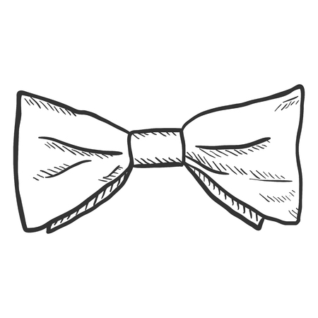 Vector Single Standard Sketch Bow Tie. Vintage Fashion Accessory  イラスト・ベクター素材