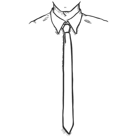Office Employee in Shirt and Necktie Illustration.