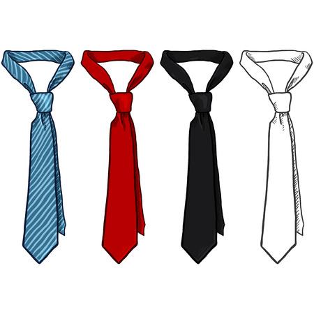 Vector Set of Sketch and Cartoon Color Neckties.