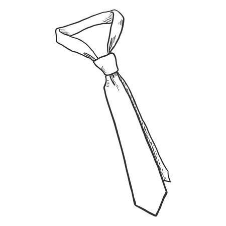 Vector Sketch Hand Drawn Illustration - Single Classic Necktie Illustration