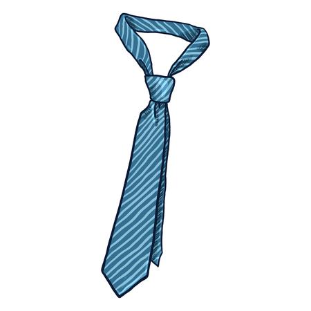 Single Classic Blue Striped Necktie Illustration Illustration