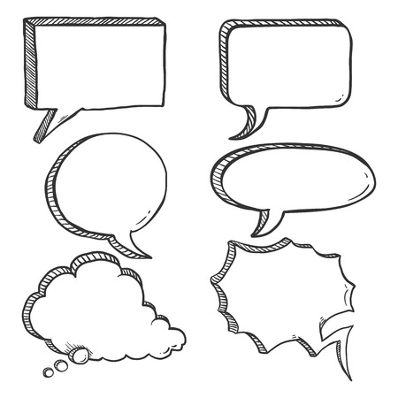 Vector Set of Black Sketch Comics Speech Bubbles Ilustrace
