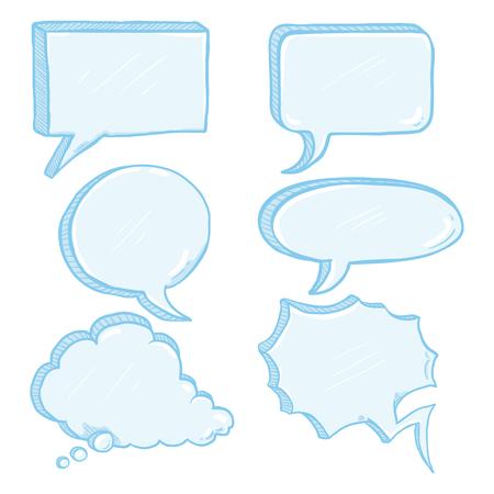 Vector conjunto de burbujas de discurso de cómics azules.