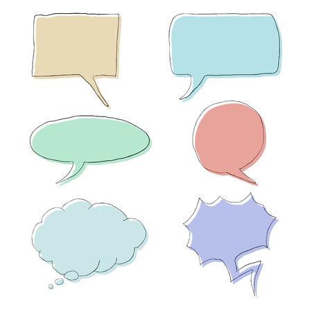 Vector Set of Color Doodle Comics Speech Bubbles. Comix Balloons.