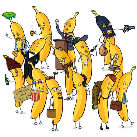 Vector Set of Different Banana Characters. Banana Crowd.