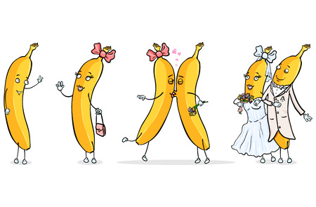 Vector Set of Cartoon Male and Female Banana Characters - Banana Love Story