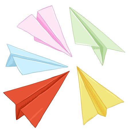 Vector Set of Cartoon Colored Paper Air Planes. Origami Artworks Illustration