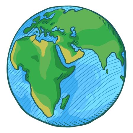 Vector Single Cartoon Color Globe Illustration on Isolated Background. Illustration