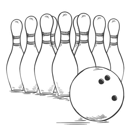 A Vector Pencil Sketch Set of Bowling Skittles and Ball