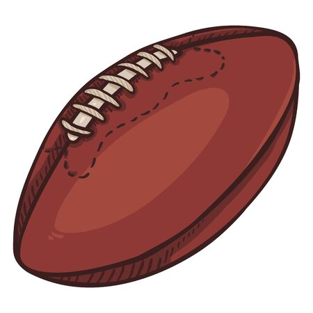 Vector Cartoon Brown Ball for Rugby. American Football Illustration