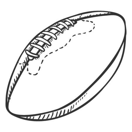 Single Sketch Ball for Rugby. Illustration