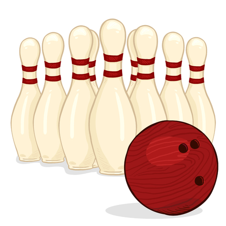Vector Cartoon Set of White Bowling Skittles and Red Ball. 일러스트