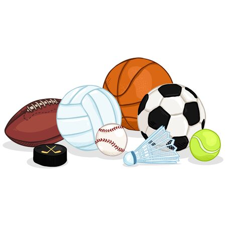 Vector Cartoon Color Sport Set - Pile of Different Balls and Equipment