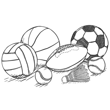 Vector Pencil Sketch Sport Set - Pile of Different Balls and Equipment
