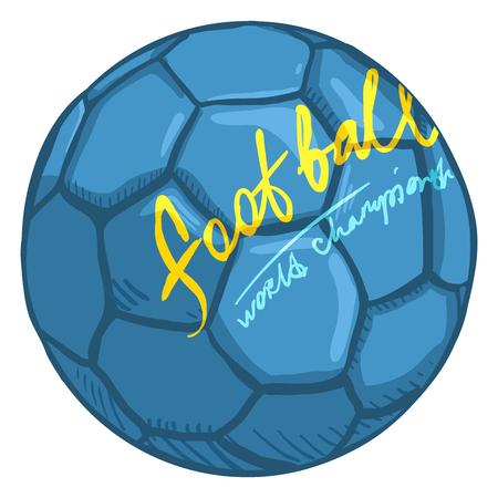 Vector Single Cartoon Blue Ball for Soccer. European Football Illustration